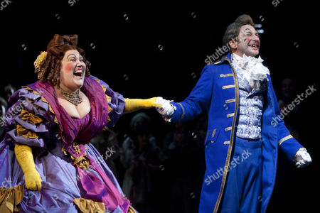 Lorraine Bruce (Madame Thenardier) and Martin Ball (Thenardier) on stage during the curtain call at Les Miserables for Nick Jonas's first night at the Queen's Theatre, London
