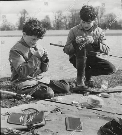Two Young Fishing Brothers Harry Fane Aged 9 And Lord Burghersh (16th Earl Of Westmorland) Aged 10 Right Sons Of Earl And Countess Of Westmorland Seen Fishing At Badminton Lake