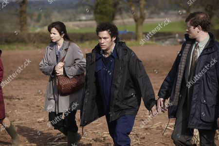 Stock Image of Emily Watson as Janet Leach, Dominic West as Fred West and Sam Roukin as DC Darren Law.