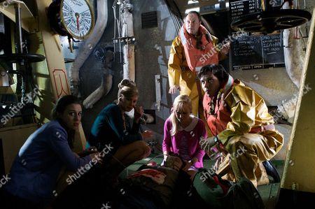 Carol (Diana May), Faye (Lauren Drummond), Lizzie (Michelle Hardwick), Dr Gordon Ormerod (Robert Daws) and Dr Ralph Ellis (Neil McDermott)