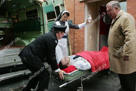 Stock Photo of Sister Brigid (Linda Armstrong), Smith (Adam Allfrey) and Jack Bell (Gareth Hale)