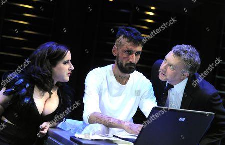 Lisa Hammond as Herald, Arsher Ali as Marat, Jasper Britton as the Marquis de Sade