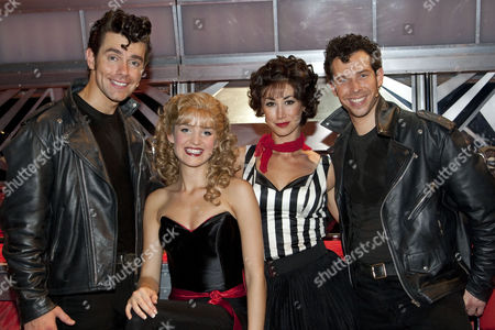 Matthew Goodgame (Danny), Lauren Samuels (Sandy), Siubhan Harrison (Rizzo) and Bennett Andrews (Kenickie) backstage after the curtain call