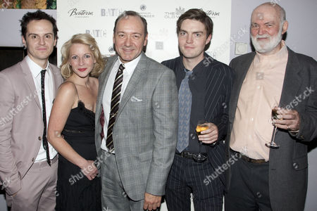 Stock Picture of Andrew Scott (Leo), Lisa Dillon (Gilda), Kevin Spacey (Artistic Director), Tom Burke (Otto) and Anthony Page (Director)