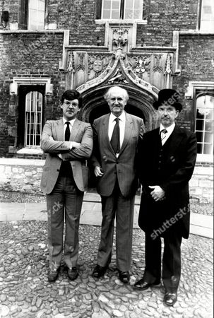 The Staff At Jesus College Cambridge Where Prince Edward Is Going. L-r: Dr Gavin Mackenzie Sir Alan Cottrell And Head Porter John Haycock.
