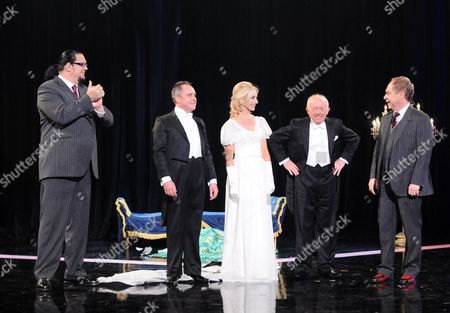 Penn Jillette and Raymond Teller with Paul Daniels his son Martin Daniels and assistant Andi.