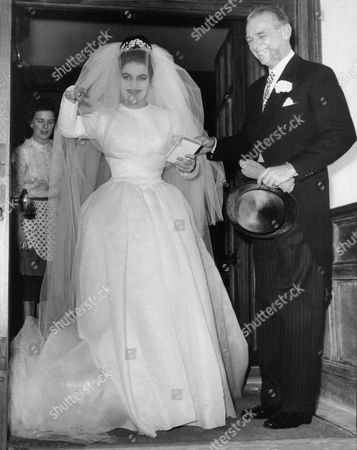 Wedding Of David Weston To Daphne Fairbanks. The Bride Pictured With Her Father Douglas Fairbanks Jnr.