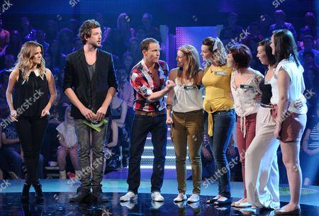 Caroline Flack with Darren McMullen and Joe Swash with Contestants
