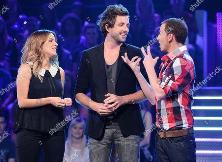 Caroline Flack with Darren McMullen and Joe Swash.