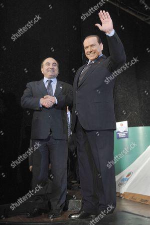 Domenico Scilipoti, President of Movement of National Responsibility and Italian Prime Minister Silvio Berlusconi