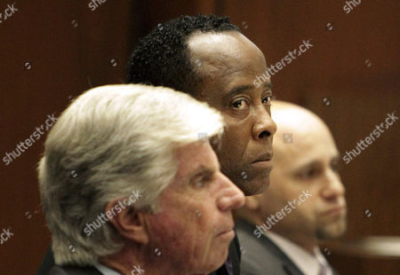 Defence attorney J. Michael Flanagan, Dr. Conrad Murray and Nareg Gourjian