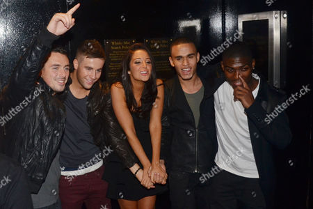 Tulisa Contostavlos (centre) with The Risk (Charlie Healy, Andrew Merry, Ashley Baptiste and Derry Mensah)