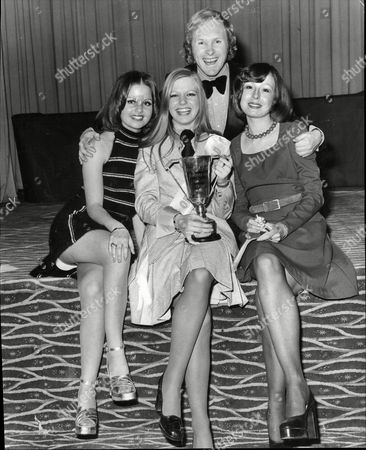 Stock Picture of David Hamilton Dj And Tv Presenter Comparing Miss Office World Final- Girl Of The Year 1973 With Contestants Suzy Green Elizabeth Keller (winner) And Julia Morris.