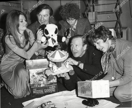 Actors Mary Land Peter Bayliss Mark Griffiths Leslie Phillips And Diane Hart With Gifts For Evening News's Toy For A Sick Child Campaign 1969.