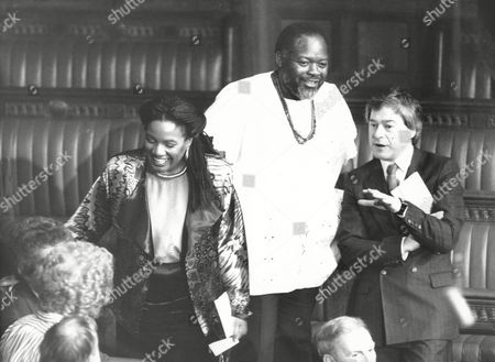 Diane Abbott Bernie Grant And Tony Banks Mps At House Of Commons For State Opening Of Parliament 1987.