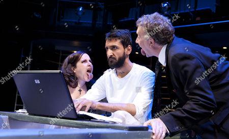 'Marat/Sade' - Lisa Hammond (Herald), Arsher Ali (Jean-Paul Marat), Jasper Britton (Marquis de Sade)