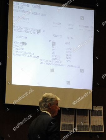 Defence attorney J. Michael Flanagan in front of slide projection of autopsy urine results