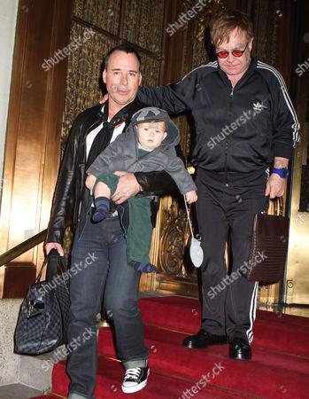Stock Picture of David Furnish, Sir Elton John and son Zachary Jackson Levon Furnish-John