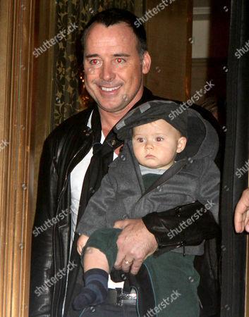 Stock Image of David Furnish and son Zachary Jackson Levon Furnish-John
