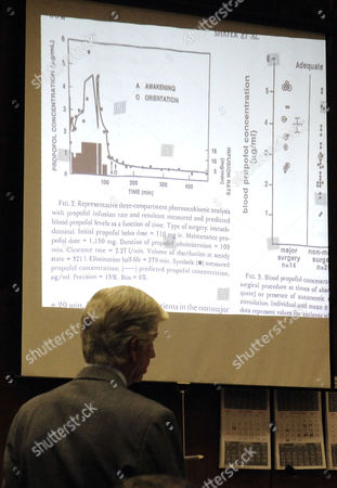 Defence attorney J. Michael Flanagan with slide projection of a diagram showing propofol blood levels
