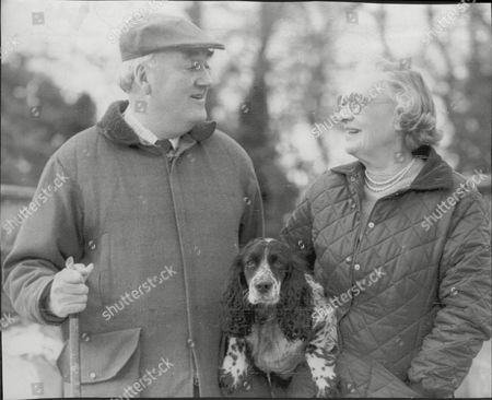 Viscount (william) Whitelaw (dead 7/99) And His Wife Cecilia With Their Pet Dog Judy At Home In Cumbria