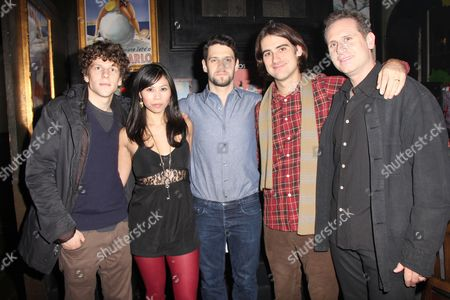 Stock Image of Jesse Eisenberg, Camille Mana, Justin Bartha, Director Kip Fagan and Remy Auberjonois