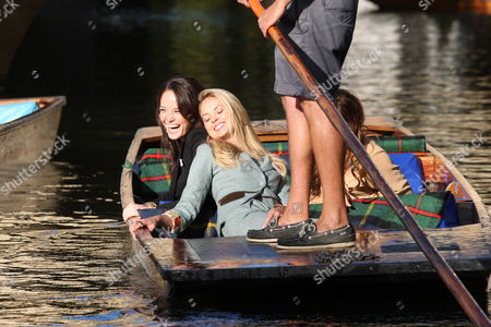 Miss World Contestants Miss England Alize Mounter, Miss Scotland Jennifer Reach (Black Outfit) on the River Cam.