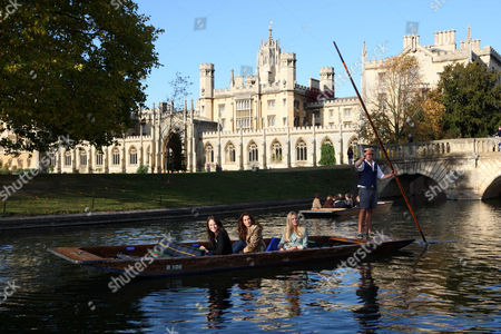 Miss World Contestants Miss England Alize Mounter, Miss Scotland Jennifer Reach (Black Outfit) and Miss Ireland Holly Carpenter (Leopard Outfit) on the River Cam.