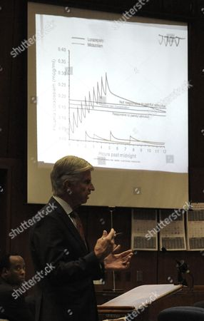 Defence attorney J. Michael Flanagan with slide projection of a medical chart