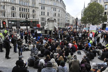 Stock Photo of Protesters attend a meeting with the Right Reverend Graeme Knowles, the Dean of St Paul's, and Dr Richard Chartres, the Bishop of London