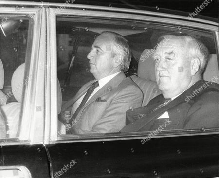 Lord Young And Viscount (william) Whitelaw (dead 7/99) Arrive At Chequers For A Meeting To Announce The General Election