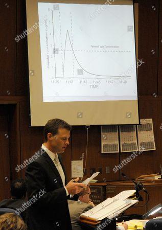 Deputy District Attorney David Walgren shows a dosage graph of propofol