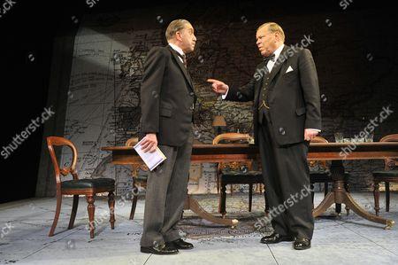 Stock Image of 'Three Days in May' - Robert Demeger (Neville Chamberlain) and Warren Clarke (Winston Churchill)