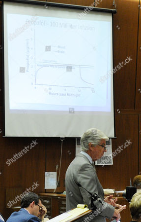 Stock Picture of Defence attorney J. Michael Flanagan projects a propofol time graph