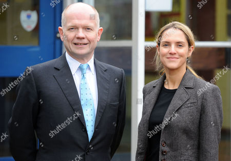William Hague and Conservative MP Louise Mensch on a visit to The Kingswood School in Corby, Britain