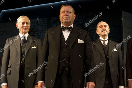 Stock Picture of 'Three Days in May' - Jeremy Clyde (Lord Halifax), Warren Clarke (Winston Churchill) and Robert Demeger (Neville Chamberlain)