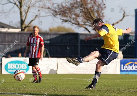 Steve Claridge of Gosport Borough FC scores the opening goal
