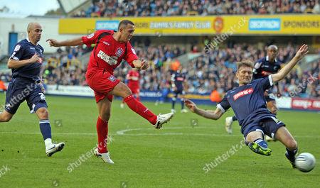 Michael Chopra of Ipswich Town goes close to scoring a goal.