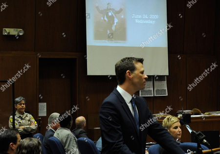 Deputy District Attorney David Walgren projects an image of Michael Jackson the day before his death