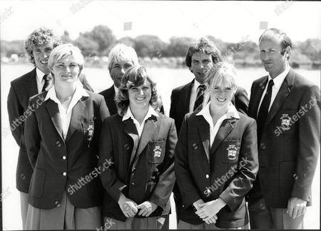 The Peter Stuyvesant European Water Ski Championship At Thorpe Park Chertsey. Pictured Are The British Team Managed By Barry O'dell Captained By Mike Hazelwood Mbe Andy Mapple World Slalom Champion And John Battleday British Trick Record Holder. The Girls Are Karen Morse Mbe Cathy Hulme And Nicola Rasey.