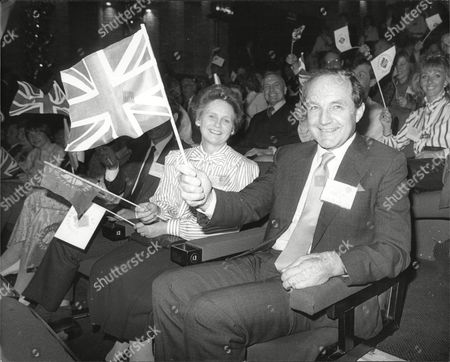 George Younger (viscount Younger Of Leckie) Secretary Of State For Defence At Margaret Thatcher's Youth Rally At Wembley Conference Centre During The 1987 Election Campaign