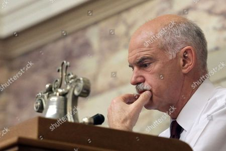 Greek Prime Minister George Papandreou during a meeting of the parliamentary group of Pasok