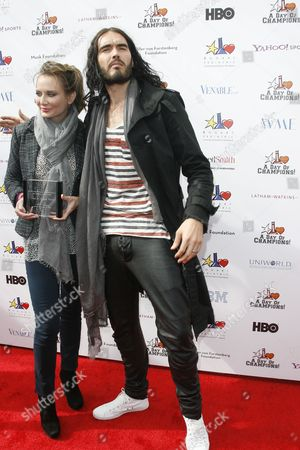 Stock Photo of Honoree Childrens Choice Award Trina Venit with Russell Brand