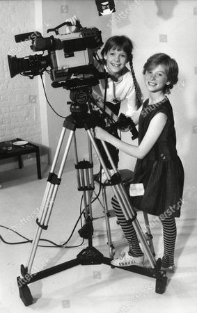 Fay Masterson And Zoe Hart Child Actors With Film Camera 1985.