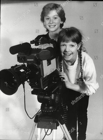 Fay Masterson And Zoe Hart; Child Actors With Film Camera 1985.
