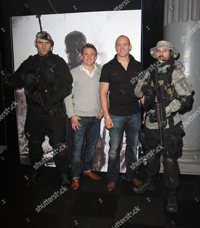 Rory Lawson and Mike Tindall with 'soldiers'