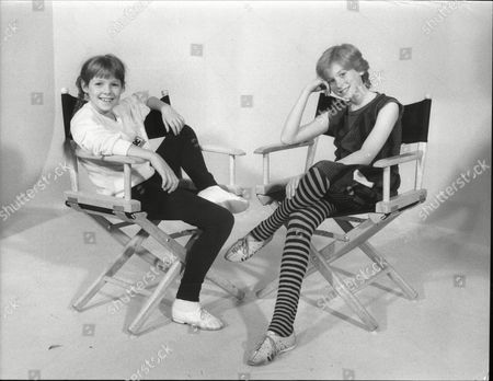 Zoe Hart And Fay Masterson Child Actresses In Canvas Chairs 1985.