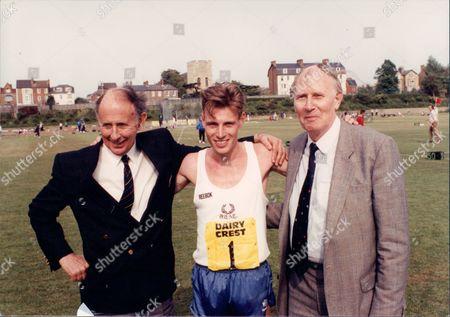 Athlete Sir Roger Bannister An John Landy With Runner Simon Mugglestone
