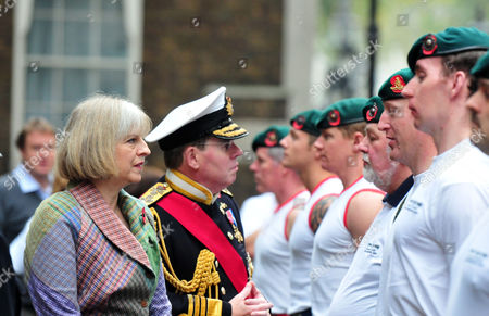 Theresa May and First Sea Lord Admiral Sir Mark Stanhope