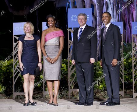 Laureen Harper, First Lady Michelle Obama, Canadian Prime Minister Stephen Harper and President Barack Obama